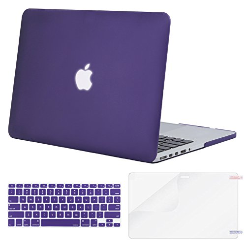 Mosiso Plastic Hard Case with Keyboard Cover with Screen Protector Only for MacBook Pro 13 Inch with Retina Display No CD-Rom (A1502/A1425, Version 2015/2014/2013/end 2012), Ultra Violet