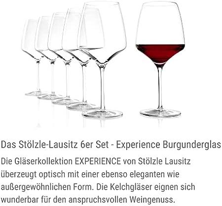 Copas de Vino Tinto Experience Borgoña de Stölzle Lausitz, 695 ml, set de 6, apta para el lavavajillas, tronco estirado