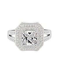 Daesar Gold Plated Rings Women Wedding Bands Cubic Zirconia Ring CZ Channel Engagement Ring for Women