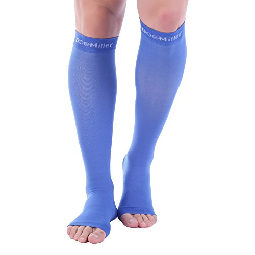 Doc Miller Premium Open Toe Compression Socks 1 Pair 30-40mmHg Medical Grade Support Graduated Pressure Recovery Circulation Varicose Spider Veins Airplane Maternity Stockings (Blue, Medium)