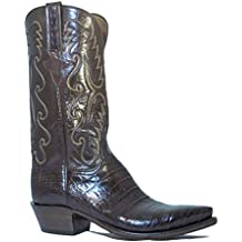 Men's Lucchese Classic Cowboy Boot E2145.54 Chocolate Caiman Ultra Belly Hand-Made Pony Brown