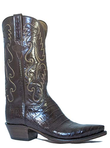 Men's Lucchese Classic Cowboy Boot E2145.54 Chocolate Caiman Ultra Belly Hand-Made Pony Brown Size - Lucchese Chocolate Classics