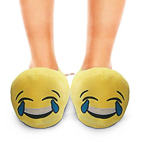 BriteNway - Zapatillas de estar por casa de Terciopelo para mujer Amarillo amarillo Tears of Happiness
