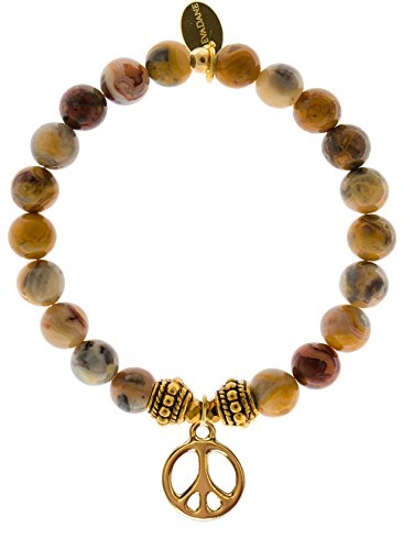 EvaDane Natural Crazy Lace Agate Gemstone Rope Bead Peace Sign Charm Stretch Bracelet - Size 7 Inch ( 1_CLA_G_R_PEA_7)