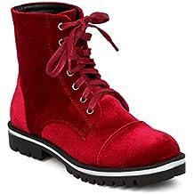 CAPE ROBBIN Women Velvet Combat Bootie - Casual, Trendy, Everyday - Velvet All Weather Boot - GF86
