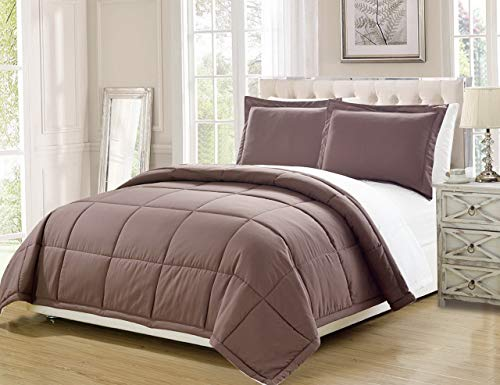 Set Newport Duvet Cover (Hemau Premium New Soft 3 Piece Luxury Taupe/White Reversible Goose Down Alternative Comforter Set, Cal King with Corner Tab Duvet Insert | Style 503194473)