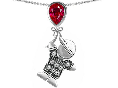 Star K Boy Holding a Balloon Mother July Birth Month Pear Shape Created Ruby Pendant Necklace