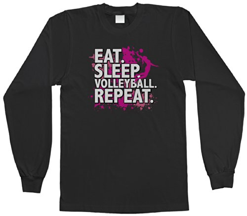 Threadrock Big Girls' Eat Sleep Volleyball Repeat Youth Long Sleeve T-Shirt M Black