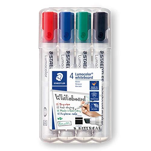 Staedtler Lumocolor Whiteboard Marker, Chisel Tip, Box of 4 Assorted Colors (Red, Blue, Green, Black), 351 WP4