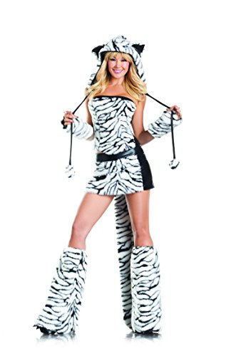 Be Wicked Tasty Tiger Costume, Black/White, Small/Medium (Tiger Costume Adults)
