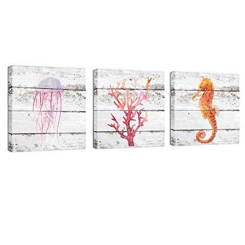 """BOLUO Canvas Painting Ocean Wall Art Red Coral Jellyfish Seahorse Framed Prints Vintage Home Decor 12x12 (3pcs(12""""x12""""))"""