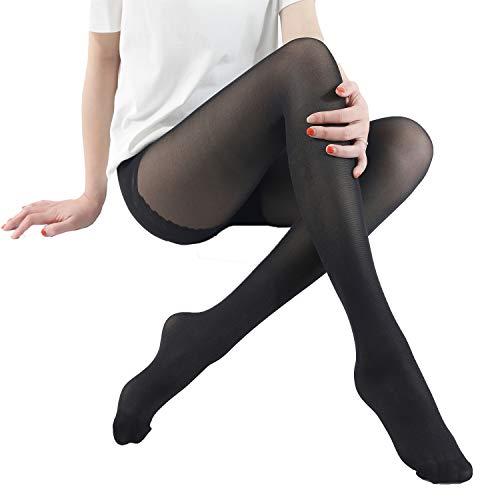 WEANMIX Women's Silk Sheer Pantyhose Control Top Stockings Black Tights 40 Denier
