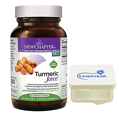 - New Chapter Turmeric Force for Inflammation Support, Non-GMO, One Daily - 60 Vegetarian Capsule Bundle with a Lumintrail Pill Case