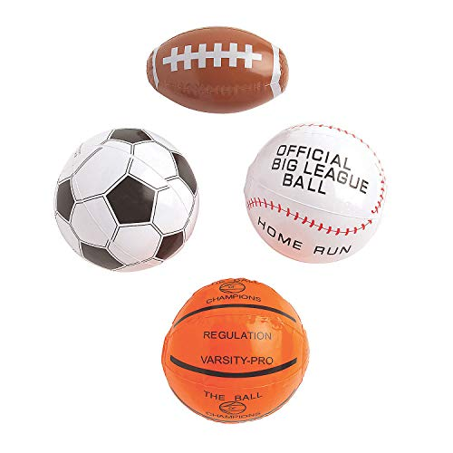 Fun Express Mini Assorted Inflatable Sports Balls - 12 Pieces
