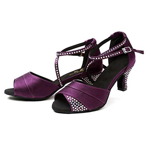 donne latino danza sandali raso diamante pelle tango salsa samba tango sala da ballo aprire il piede morbido scamosciato suole fibbia tacchi alti viola scarpe . c . 38