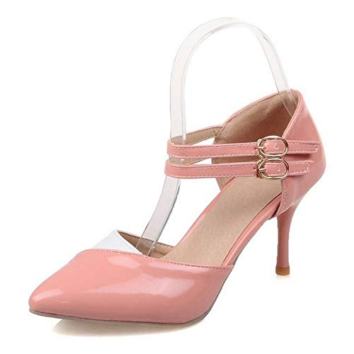 Houfeoans Size 30-48 Ankle Straps High Heels Sandals Summer Shoes Ladies Pointed Toe Patent Leather Party Shoes,Pink,14 ()