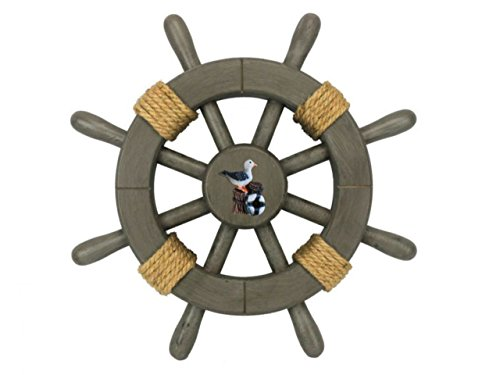 Hampton Nautical  Decorative Ship Wheel with Seagull, 12