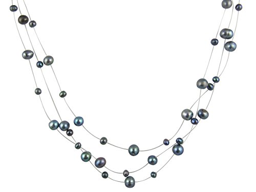 (PearlsNSilver Black Pearl Illusion Necklace 16