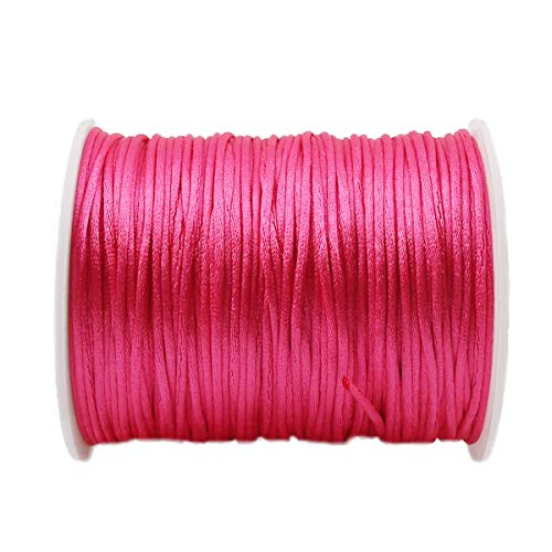 Promise Babe Satin Rattail Silk Nylon Cord for Braided Necklace Bracelet Beading Jewelry Making Accessory 75m Deep Pink ()