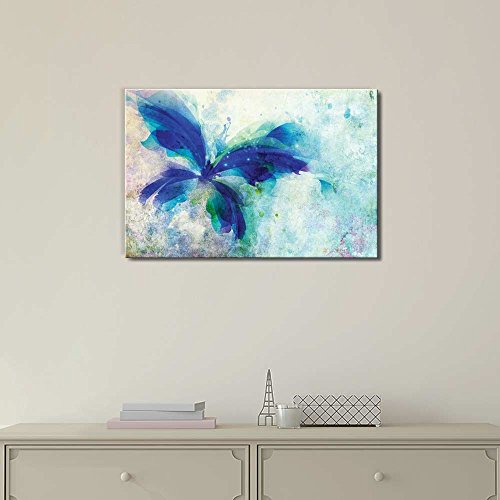 Beautiful Blue Butterfly on a Vintage Watercolor Background