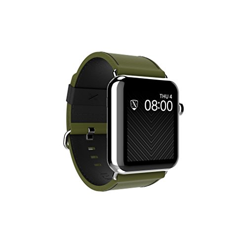 LUXEORA Bravo Nylon Web/Leather Band Strap with Polished Stainless Steel Buckle - 44/42mm - Spec-Op Green and Black - Compatible with Apple Watch Series 4 3 2 1 Sport and Watch Edition