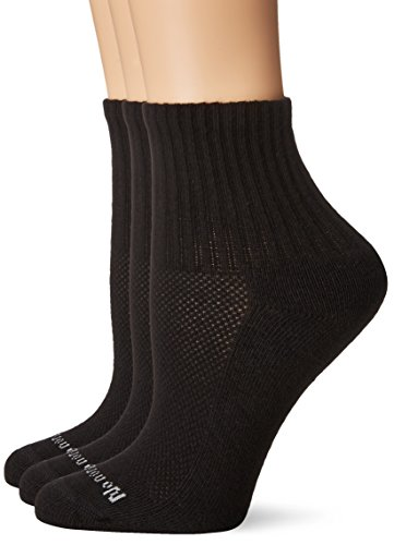 No Nonsense Women's Soft and Breathable Cushioned Mini Crew Socks 3 Pair Pack, Assorted, Black, One Size, - Quarter Pair 3 Cotton Socks