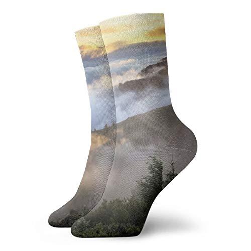 Unisex High Ankle Cushion Crew Socks Morning Mountain Fog Casual Sport - Light Laurel Mountain