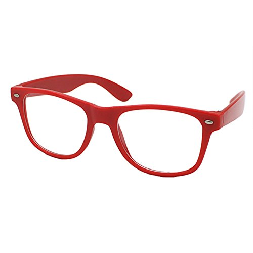 Nerd Brille Klarglas Geek Glasses Herren + Damen 80er Jahre Geek Fashion Brille (Rot)