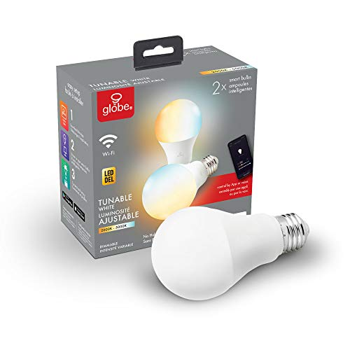 Globe Electric 34208 Smart Collection Wi-Fi 10 Watt (60W Equivalent) Dimmable Frosted LED Light Bulb 2-Pack, No Hub Required, 2000K-5000K, A19 Shape, E26 Base, A19, Tunable White