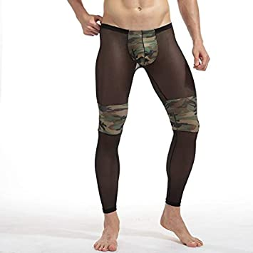 afbaf98b2c0d6 Image Unavailable. Image not available for. Color: FATHER.SON Running  Leggings Men's Sexy Transparent Camouflage Yoga Pants Men Tights Breathable  ...