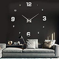 UBaymax Large Frameless Mute 3D DIY Wall Clock, 3D Mirror Wall Clock Modern Pendulum Design Metallic Wall Clock Stickers for Living Room Bedroom Home Decorations Gift(Sliver)