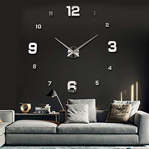 UBaymax Large Frameless Mute 3D DIY Wall Clock, 3D Mirror Wall Clock Modern Pendulum Design Metallic Wall Clock Stickers for Living Room Bedroom Home Decorations Gift(Sliver) (Mirrors Decoration For)