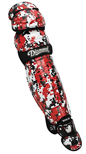 Diamond Dlg-Ix5 Edge Camo Baseball Catcher's Leg Guards - 17.5 Inch - Red by Diamond