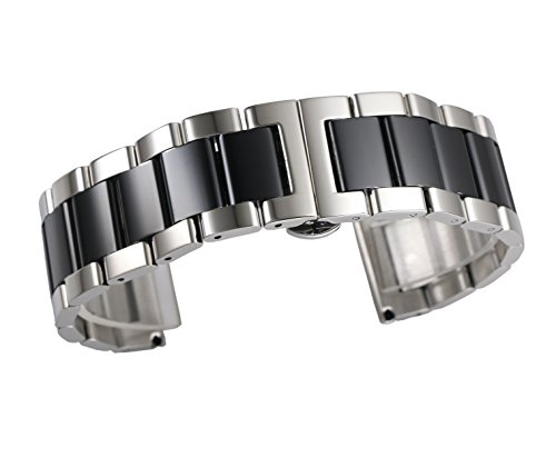 Black Butterfly Silver Link Watch - 22mm High-End Straight End Metal Link Watch Strap Solid 316L Stainless Steel Dual Tone Silver and Black