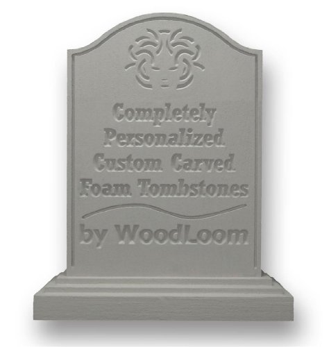 Personalized Foam Halloween Tombstone - Custom Carved by WoodLoom - Saddle Top - 24 Inches (Halloween Movie Font)