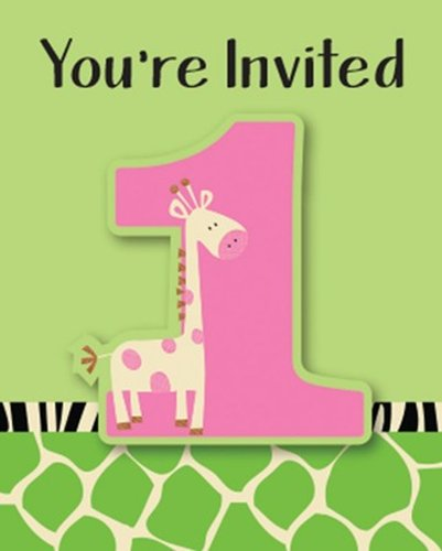 8-Count Party Invitations, Wild at One - Wild Animal Chair Giraffe