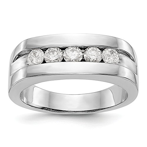 JewelrySuperMart Collection 3/4 CT 14k White Gold AA Diamond Men's Band. 0.7 ctw.