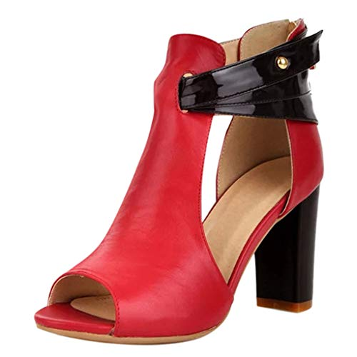 Womens Fish Mouth High Heel Zipper Sandals Leather Short Boots Single Shoes,SUNSEE 2019 Red ()