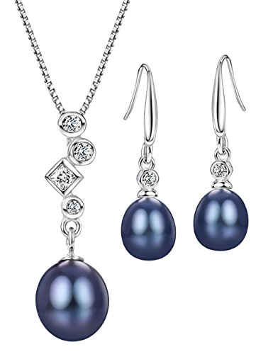Black Freshwater Pearl Jewelry Set Sterling Silver Necklace and Earrings Set Fine Jewelry for Women