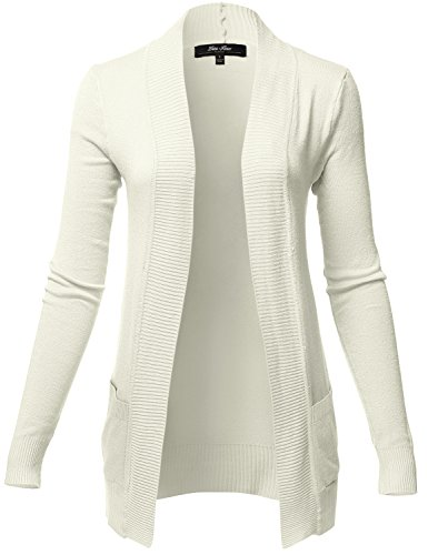 Solid Color Rib Banded Long Sleeve Cardigans, 024-White, US L