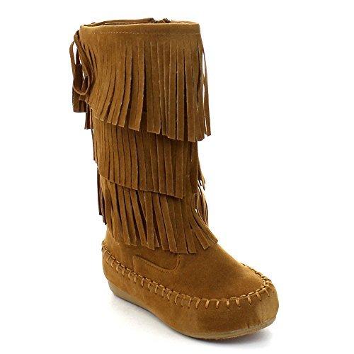 Link Candice-16Ka Girls Mid Calf 3 Layer Fringe Boots,Tan,4