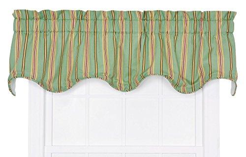 - Ellis Curtain Warwick Medium Scale Stripe Lined Scallop Valance, Green