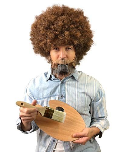 (80's Painter Afro Wig with Full Beard and Mustache Set, Adult & Kids Sizes (Kids, Wig, Paint Brush, Wooden)