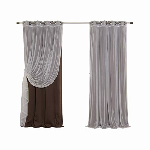 Glamour Curtain Panel - Best Home Fashion Mix & Match Tulle Sheer Lace & Blackout Curtain Set - Antique Bronze Grommet Top - Chocolate - 52