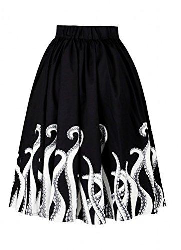Alaroo Women's Octopus Printed Print Skater Ruffle Midi Skirt Halloween Costume S