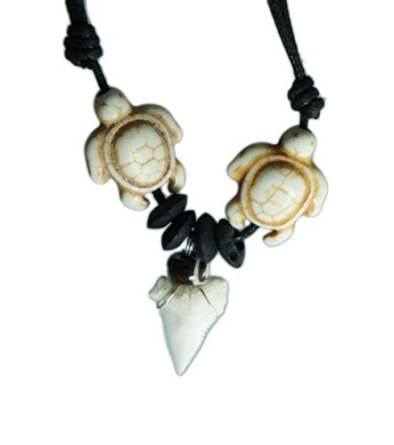 (Brown Sea Turtle Shark Tooth Necklace Handmade Hawaiian Style Beach Boy Men)