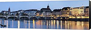 Bridge across a river with a cathedral, Mittlere Rheinbrucke, St. Martin's Church, River Rhine, Basel, Switzerland by Panoramic Images Canvas Art Wall Picture, Museum Wrapped with Black Sides, 27 x 9