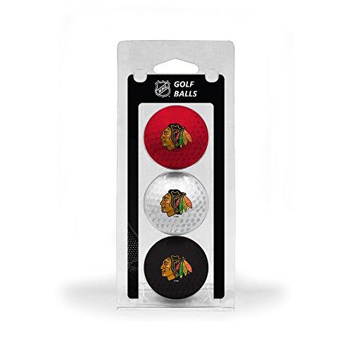 Team Golf NHL Chicago Blackhawks Regulation Size Golf Balls, 3 Pack, Full Color Durable Team - Balls Team Golf Golf