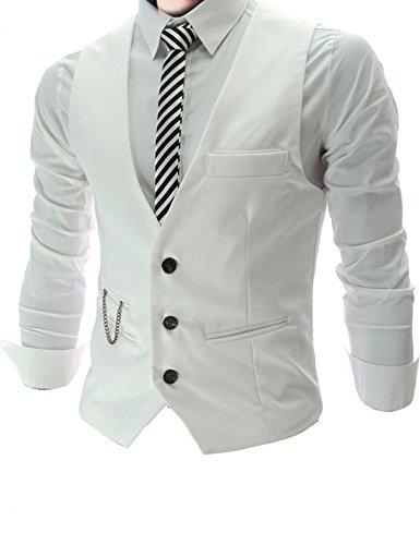 Mariage Business Sans Casual Veste Gilet Homme Blanc Costume Jueshanzj De Manche xY71Xqw