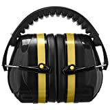 AmazonBasics Safety Ear Muffs Ear Protection, Black and Yellow, and Safety Glasses, Smoke Lens